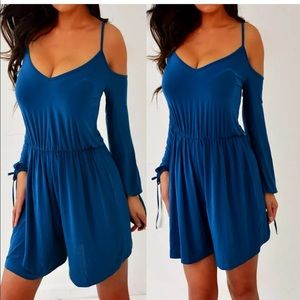 ASOS Teal Blue Cut-out Shorts Romper 4 S NWT